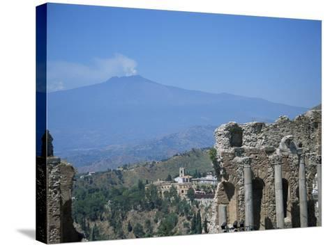 Greek Theatre and Mount Etna, Taormina, Sicily, Italy-J Lightfoot-Stretched Canvas Print