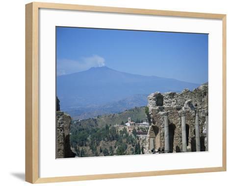 Greek Theatre and Mount Etna, Taormina, Sicily, Italy-J Lightfoot-Framed Art Print