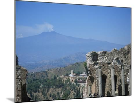 Greek Theatre and Mount Etna, Taormina, Sicily, Italy-J Lightfoot-Mounted Photographic Print