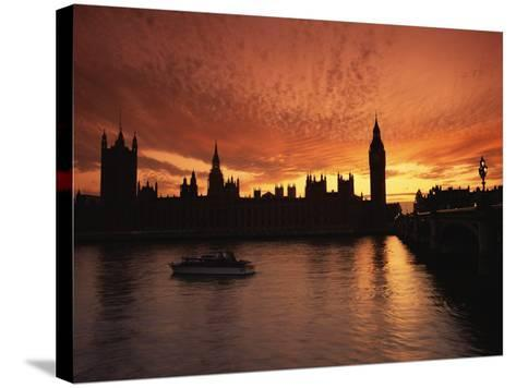 Sunset Over the Houses of Parliament, Unesco World Heritage Site, Westminster, London-Roy Rainford-Stretched Canvas Print