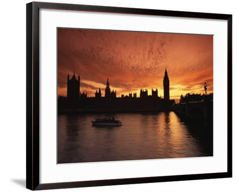 Sunset Over the Houses of Parliament, Unesco World Heritage Site, Westminster, London-Roy Rainford-Framed Art Print