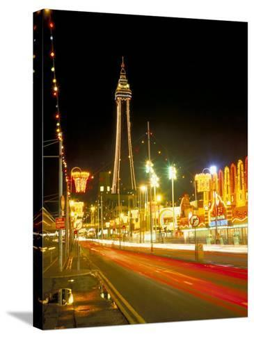 Blackpool Tower and Illuminations, Blackpool, Lancashire, England, United Kingdom-Roy Rainford-Stretched Canvas Print
