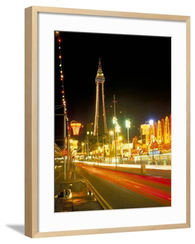 Blackpool Tower and Illuminations, Blackpool, Lancashire, England, United Kingdom-Roy Rainford-Framed Art Print