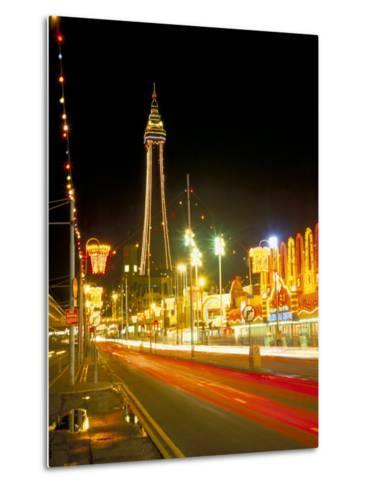 Blackpool Tower and Illuminations, Blackpool, Lancashire, England, United Kingdom-Roy Rainford-Metal Print