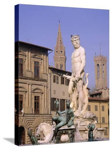 Statue of Neptune, Florence, Tuscany, Italy-Roy Rainford-Stretched Canvas Print