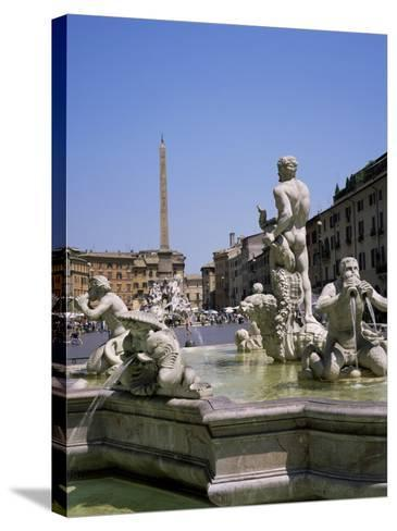 Fountains, Piazza Navona, Rome, Lazio, Italy-Roy Rainford-Stretched Canvas Print