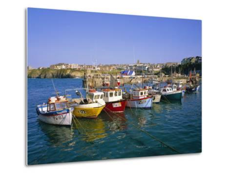 Small Boats in the Harbour, Newquay, Cornwall, England, UK-Roy Rainford-Metal Print