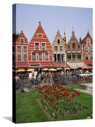 Gabled Buildings and Restaurants, Bruges, Belgium-Roy Rainford-Stretched Canvas Print