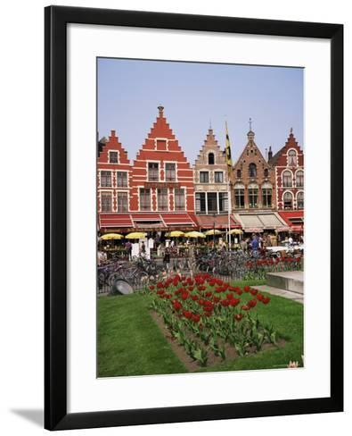 Gabled Buildings and Restaurants, Bruges, Belgium-Roy Rainford-Framed Art Print