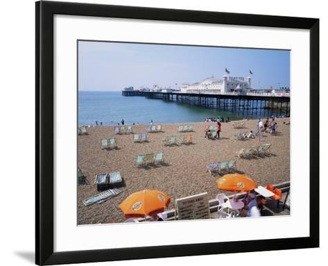The Palace Pier and Beach, Brighton, Sussex, England, United Kingdom-Roy Rainford-Framed Art Print