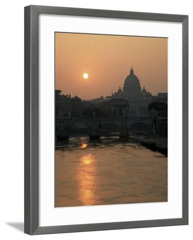 River Tiber and the Vatican, Rome, Lazio, Italy-Roy Rainford-Framed Art Print