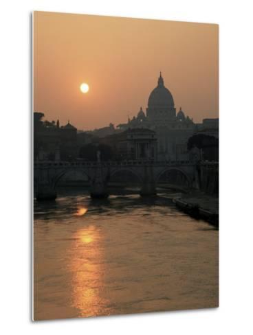 River Tiber and the Vatican, Rome, Lazio, Italy-Roy Rainford-Metal Print