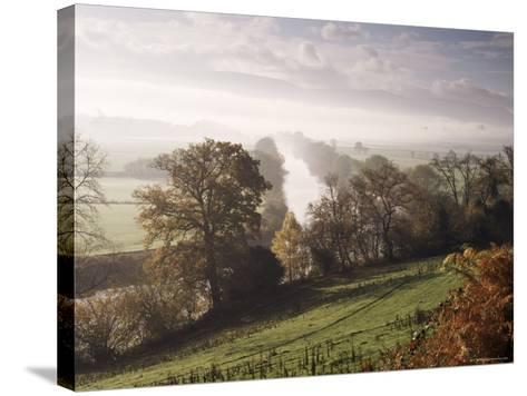 River Wye with the Brecon Beacons in the Distance, Herefordshire, England, United Kingdom-John Miller-Stretched Canvas Print