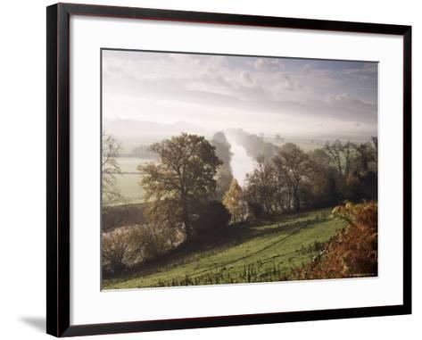 River Wye with the Brecon Beacons in the Distance, Herefordshire, England, United Kingdom-John Miller-Framed Art Print