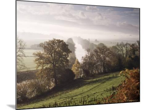 River Wye with the Brecon Beacons in the Distance, Herefordshire, England, United Kingdom-John Miller-Mounted Photographic Print