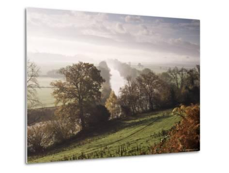 River Wye with the Brecon Beacons in the Distance, Herefordshire, England, United Kingdom-John Miller-Metal Print