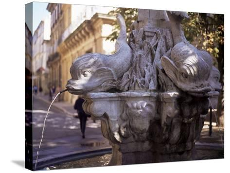 Fountain of Four Dolphins, Aix En Provence, Bouches Du Rhone, Provence, France-John Miller-Stretched Canvas Print