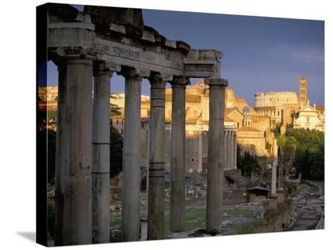 View Across Roman Forum Towards Colosseum and St. Francesca Romana, Rome, Lazio, Italy-John Miller-Stretched Canvas Print