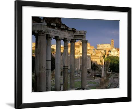 View Across Roman Forum Towards Colosseum and St. Francesca Romana, Rome, Lazio, Italy-John Miller-Framed Art Print