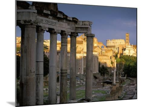View Across Roman Forum Towards Colosseum and St. Francesca Romana, Rome, Lazio, Italy-John Miller-Mounted Photographic Print