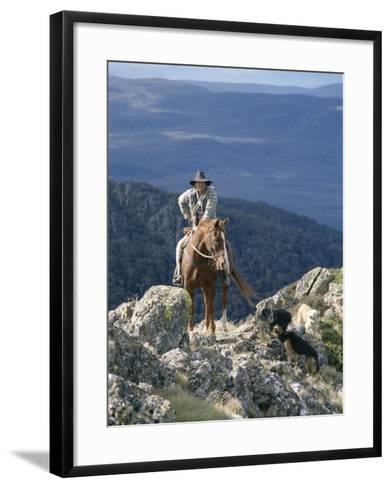 Man on Horse with Dogs, 'The Man from Snowy River', Victoria, Australia-Claire Leimbach-Framed Art Print