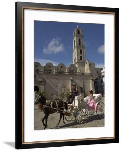 Elegant Woman Riding in Horse and Carriage, Plaza San Francisco De Asis, Havana, Cuba-Eitan Simanor-Framed Art Print