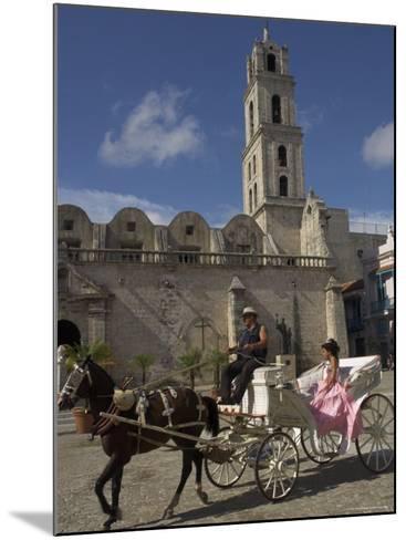 Elegant Woman Riding in Horse and Carriage, Plaza San Francisco De Asis, Havana, Cuba-Eitan Simanor-Mounted Photographic Print