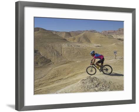 Side View of Competitior in the Mount Sodom International Mountain Bike Race, Dead Sea Area, Israel-Eitan Simanor-Framed Art Print