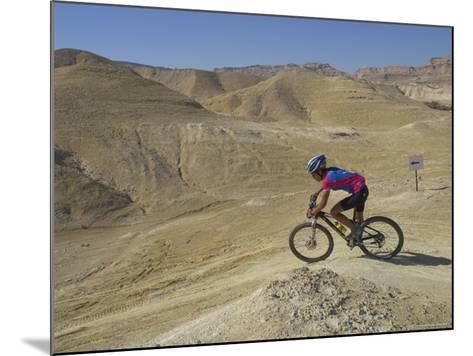 Side View of Competitior in the Mount Sodom International Mountain Bike Race, Dead Sea Area, Israel-Eitan Simanor-Mounted Photographic Print