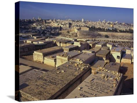 Jewish Tombs in the Mount of Olives Cemetery, with the Old City Beyond, Jerusalem, Israel-Eitan Simanor-Stretched Canvas Print