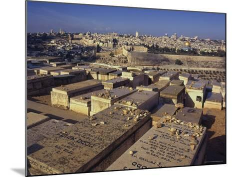 Jewish Tombs in the Mount of Olives Cemetery, with the Old City Beyond, Jerusalem, Israel-Eitan Simanor-Mounted Photographic Print