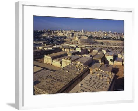 Jewish Tombs in the Mount of Olives Cemetery, with the Old City Beyond, Jerusalem, Israel-Eitan Simanor-Framed Art Print