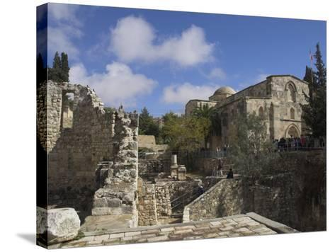 Bethesda Pool with St. Anne Church in the Background, Old City, Jerusalem, Israel, Middle East-Eitan Simanor-Stretched Canvas Print