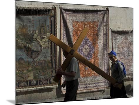 Couple of Pilgrims Carrying a Cross on the Via Dolorosa During Good Friday Catholic Procession-Eitan Simanor-Mounted Photographic Print