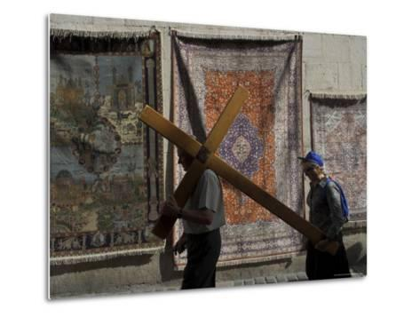 Couple of Pilgrims Carrying a Cross on the Via Dolorosa During Good Friday Catholic Procession-Eitan Simanor-Metal Print