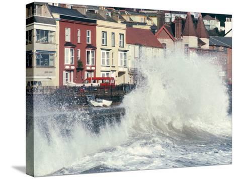 Waves Pounding Sea Wall and Rail Track in Storm, Dawlish, Devon, England, United Kingdom-Ian Griffiths-Stretched Canvas Print