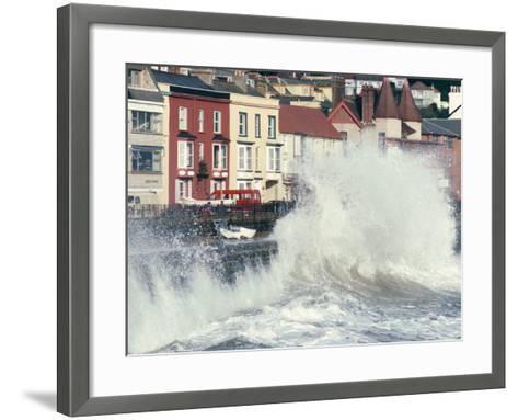 Waves Pounding Sea Wall and Rail Track in Storm, Dawlish, Devon, England, United Kingdom-Ian Griffiths-Framed Art Print