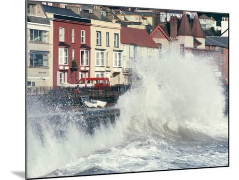Waves Pounding Sea Wall and Rail Track in Storm, Dawlish, Devon, England, United Kingdom-Ian Griffiths-Mounted Photographic Print