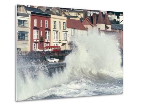 Waves Pounding Sea Wall and Rail Track in Storm, Dawlish, Devon, England, United Kingdom-Ian Griffiths-Metal Print