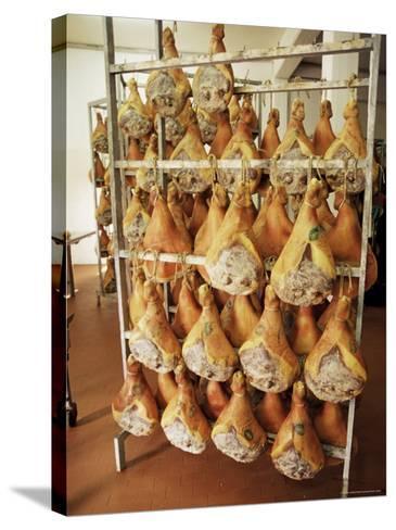 Parma Hams on Curing Racks, Near Pavullo, Emilia-Romagna, Italy-Ian Griffiths-Stretched Canvas Print