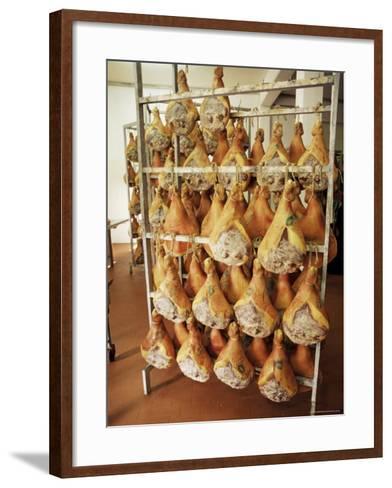 Parma Hams on Curing Racks, Near Pavullo, Emilia-Romagna, Italy-Ian Griffiths-Framed Art Print