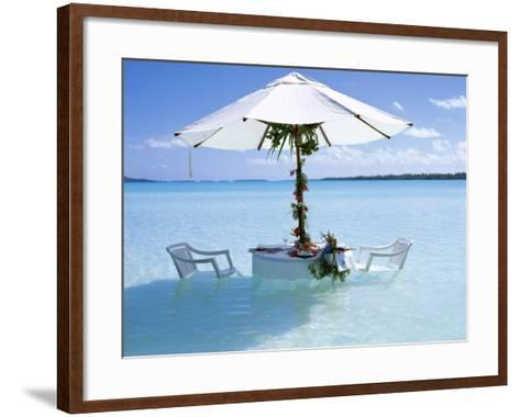 White Table, Chairs and Parasol in the Ocean, Bora Bora (Borabora), Society Islands-Mark Mawson-Framed Art Print