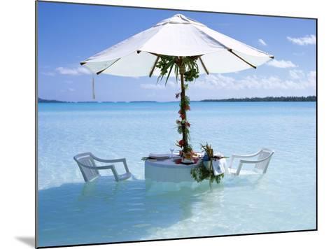 White Table, Chairs and Parasol in the Ocean, Bora Bora (Borabora), Society Islands-Mark Mawson-Mounted Photographic Print