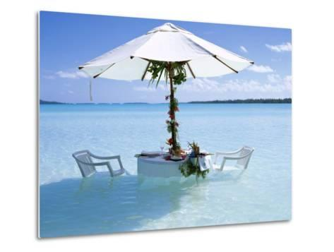 White Table, Chairs and Parasol in the Ocean, Bora Bora (Borabora), Society Islands-Mark Mawson-Metal Print