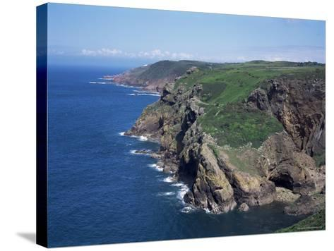 Cliffs Looking East from Near Crabbe of North Coast St. Mary, Jersey, Channel Islands-David Hunter-Stretched Canvas Print