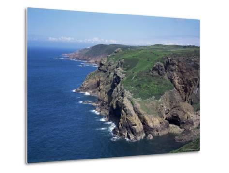 Cliffs Looking East from Near Crabbe of North Coast St. Mary, Jersey, Channel Islands-David Hunter-Metal Print