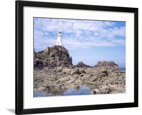 Lighthouse from the Causeway at Low Tide, Corbiere, St. Brelade, Jersey, Channel Islands-David Hunter-Framed Art Print
