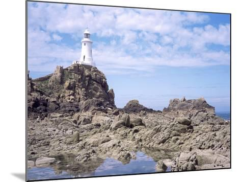 Lighthouse from the Causeway at Low Tide, Corbiere, St. Brelade, Jersey, Channel Islands-David Hunter-Mounted Photographic Print