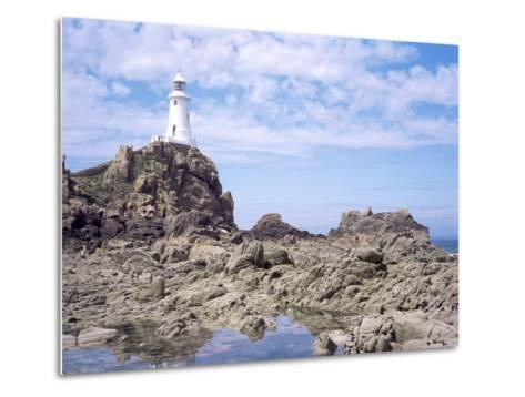 Lighthouse from the Causeway at Low Tide, Corbiere, St. Brelade, Jersey, Channel Islands-David Hunter-Metal Print
