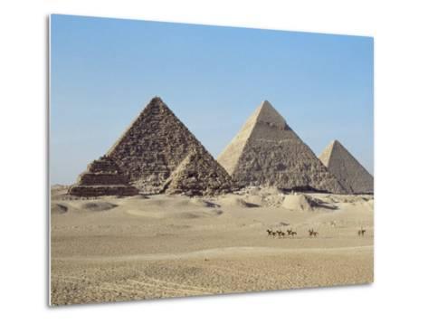 Pyramids at Giza, Unesco World Heritage Site, Near Cairo, Egypt, North Africa, Africa-John Ross-Metal Print